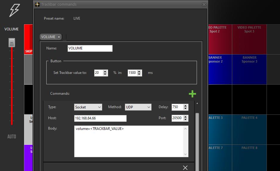 Impostare un pulsante Auto che modifica automaticamente il valore della Trackbar in un determinato lasso di tempo per controllare i comandi della regia